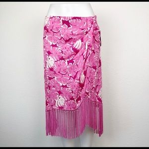 MICHAEL KORS 100% silk tropical fringe wrap skirt